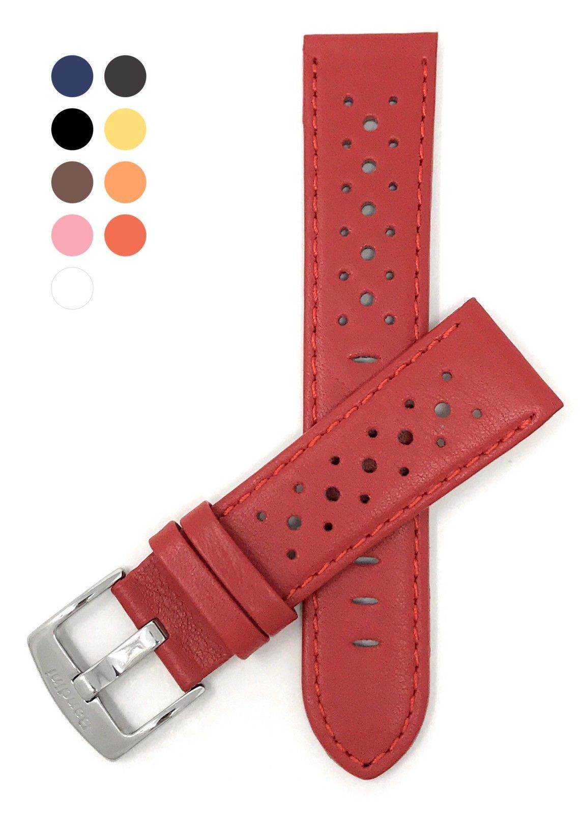 Vented Racer Genuine Leather Watch Strap Band, with Stainless Steel Buckle, 18 - - $63.63