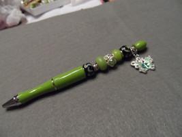 Fancy Handcrafted lime green bead ballpoint ink writing pen w/ butterfly... - $24.00