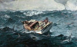 Gulf Stream by Winslow Homer Stormy Seascape Fishing Boat 36x22 Canvas Giclee - $296.01