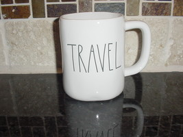 Rae Dunn TRAVEL Mug, Ivory with Black Lettering - $11.00