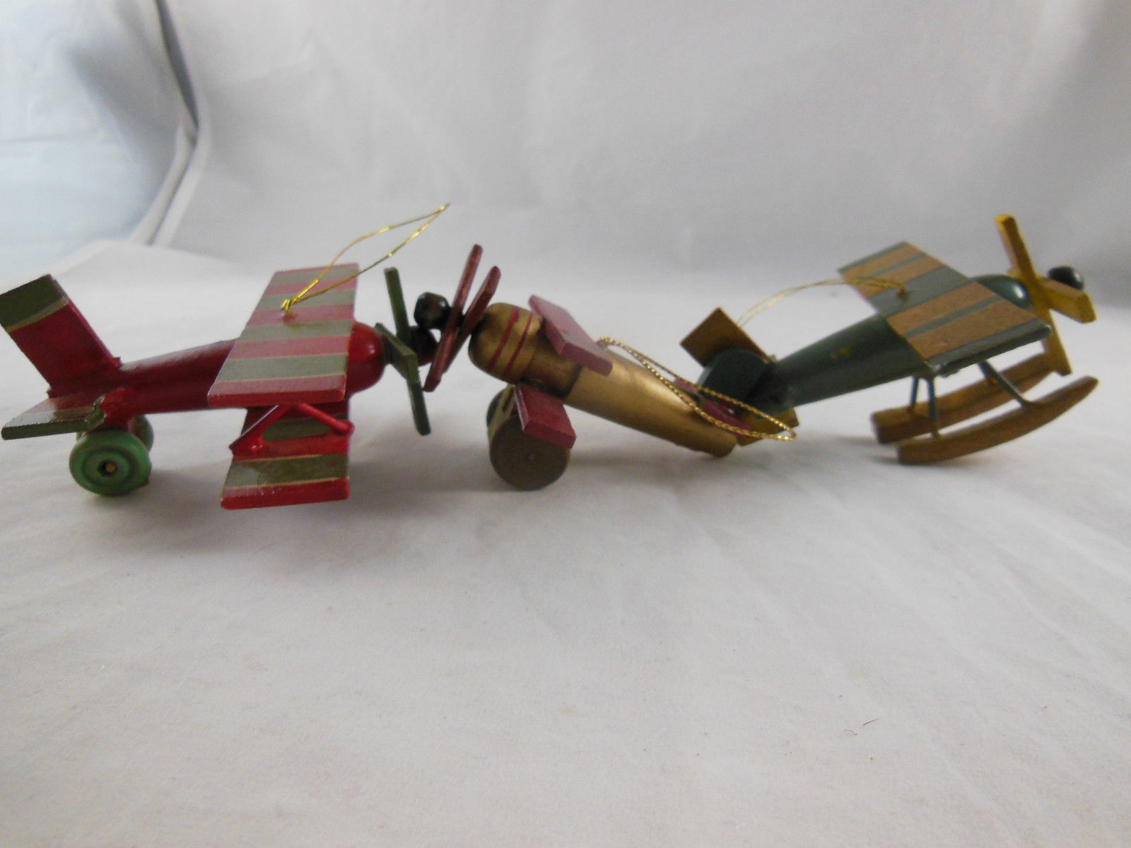 """Vintage Wooden Christmas Ornament Airplanes Biplane Aprox. 3"""""""