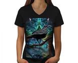 Surreal Galaxy Raven Shirt Star Crow Women V-Neck T-shirt