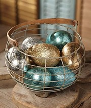 Egg Ornaments Set of Six Metallic and Glitter Finish Basket Stuffers