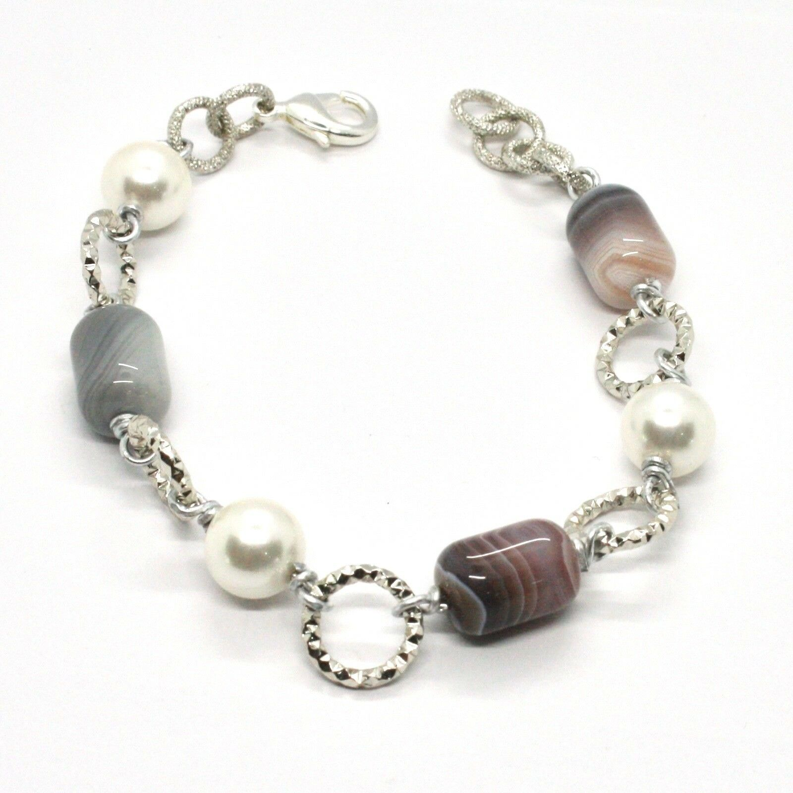 BRACELET THE ALUMINIUM LONG 21 CM WITH CHALCEDONY GRAY AND PEARLS