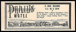 Phillips Motel Ad Rt66 El Reno Oklahoma 1964 Roadside Ad Route 66 Travel - $10.99