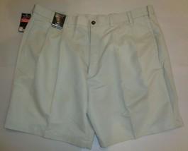 Roundtree & Yorke Size 44 EXPANDER WAISTBAND Stone Pleated New Mens Shorts - $37.25