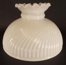 "10"" Glass Opal White Rib Swirl Crimp Top Student Lamp Shade fit Aladdin ... - $88.90"