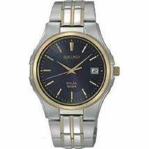 New Seiko Men's SNE124 Two Tone Stainless Steel Solar Watch MSRP $250 - $89.99