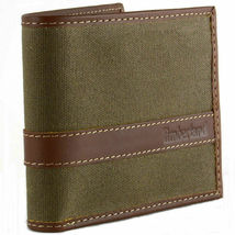 Timberland Men's Hunter Leather Waxed Canvas Credit Card ID Passcase Wallet image 9