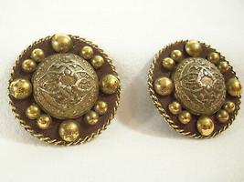 Antiqued Gold Plate Balls BUBBLE Clip on Earrings Big Vintage Estate Sig... - $14.80
