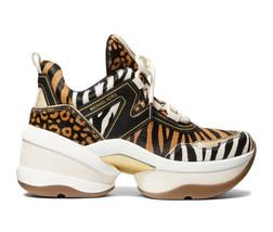 Michael Kors Women's Olympia Trainer Printed Hair Calf Dad Sneaker Shoes Suntan image 2