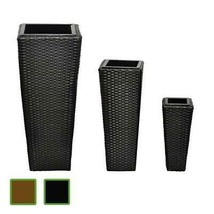 Planter Pot Set of 3 Rattan Wicker Plant Flower Porch Deck Patio Black/B... - $83.47 CAD+