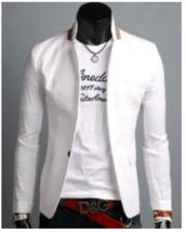 Mens Stand Collar, Single Button Casual Blazer - $39.99