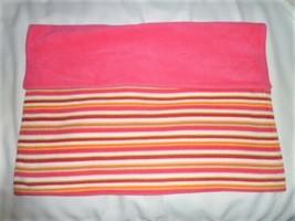 Baby Gap Hot Pink White Orange Green Blue Fleece Stripe Blanket Winter - $68.80