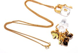 Auth Swarovski Gold Tone & Crystal Lock Pendant Chain Necklace W/ Brooch... - $177.21