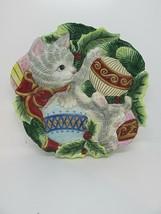 FITZ & FLOYD 2003 Kristmas Kitty Canape Plate Christmas Ornaments Cat De... - $17.95
