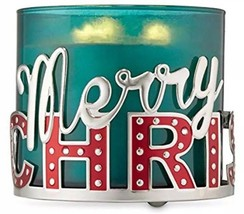 "Bath & Body Works Red ""Merry Christmas"" Large 3 Wick Candle Holder Sleeve 14.5OZ - $12.97"