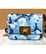 MICHAEL KORS Tina Messenger Crossbody Leather CLUTCH BAG Navy floral Slo... - $74.00