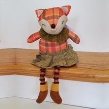 Fox Shelf Sitter, Plaid Fabric, girl fox with tweed skirt and ruffle, fall decor image 2