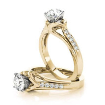 Forever Brilliant Moissanite Swan Cathedral Diamond Engagement Ring in Y... - $1,125.00