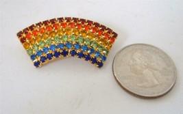 Vintage Rainbow Brooch Pin Multicolor Rhinestones Arch Gold Tone - $19.79