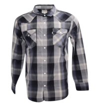 NEW LEVI'S MEN'S CLASSIC COTTON BUTTON UP LONG SLEEVE PLAID SHIRT CHARCOAL-6092 image 1