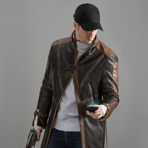 Watch Dogs Aiden Pearce Brown Leather Coat Cosplay Costume Jacket - $136.50