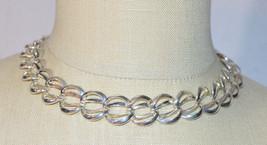 NAPIER Silver Tone Chain Link Choker Necklace Vintage - $13.86