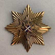 Large Enamel Shield Star Brooch Pin Pendant Big Statement Regal Gold Ton... - $29.41