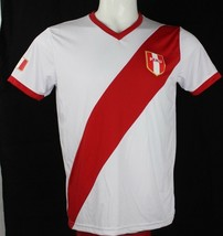 Peruvian soccer mens team world cup t shirt polyester white red - $29.90