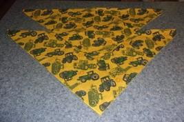Set of Two Brand New Green Tractor Farmer Dog Bandanas MEDIUM LARGE Tie On Scarf - $9.49