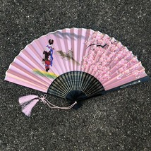 Hand Painted Chinese Silk Screen & Bamboo Ladies Hand Fan Vintage Pink - $19.37