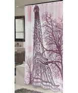 """Eiffel Tower Pink Shower Curtain Fabric New 70""""x72"""" NEW Water Repellent - $29.58"""