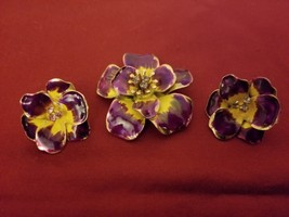 Vintage Purple and Yellow Flower Broach/ Pin and Earrings Set Unmarked - $19.75