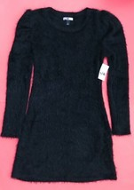 NWT Vylette Black Fuzzy Eyelash Sweater Dress L Poof Shoulders Fitted Re... - $34.64