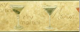 Martini Glass Alcoholic Drink Wallpaper Border Beige Olive Bar Man Cave Waverly - $12.99