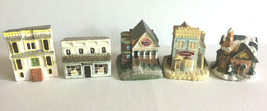 Collectible Miniature Houses Set of 5 Mantle Window Display Bakery Resta... - $21.47