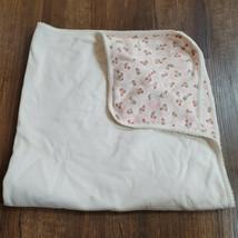 Vintage 2003 Baby Gap Girl Cotton Blanket Pink White Cream Flower Receiving - $69.29
