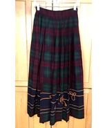 Vintage Ralph Lauren ' Blue Label ' Tartan Plaid long Skirt size  XS / S - $45.50