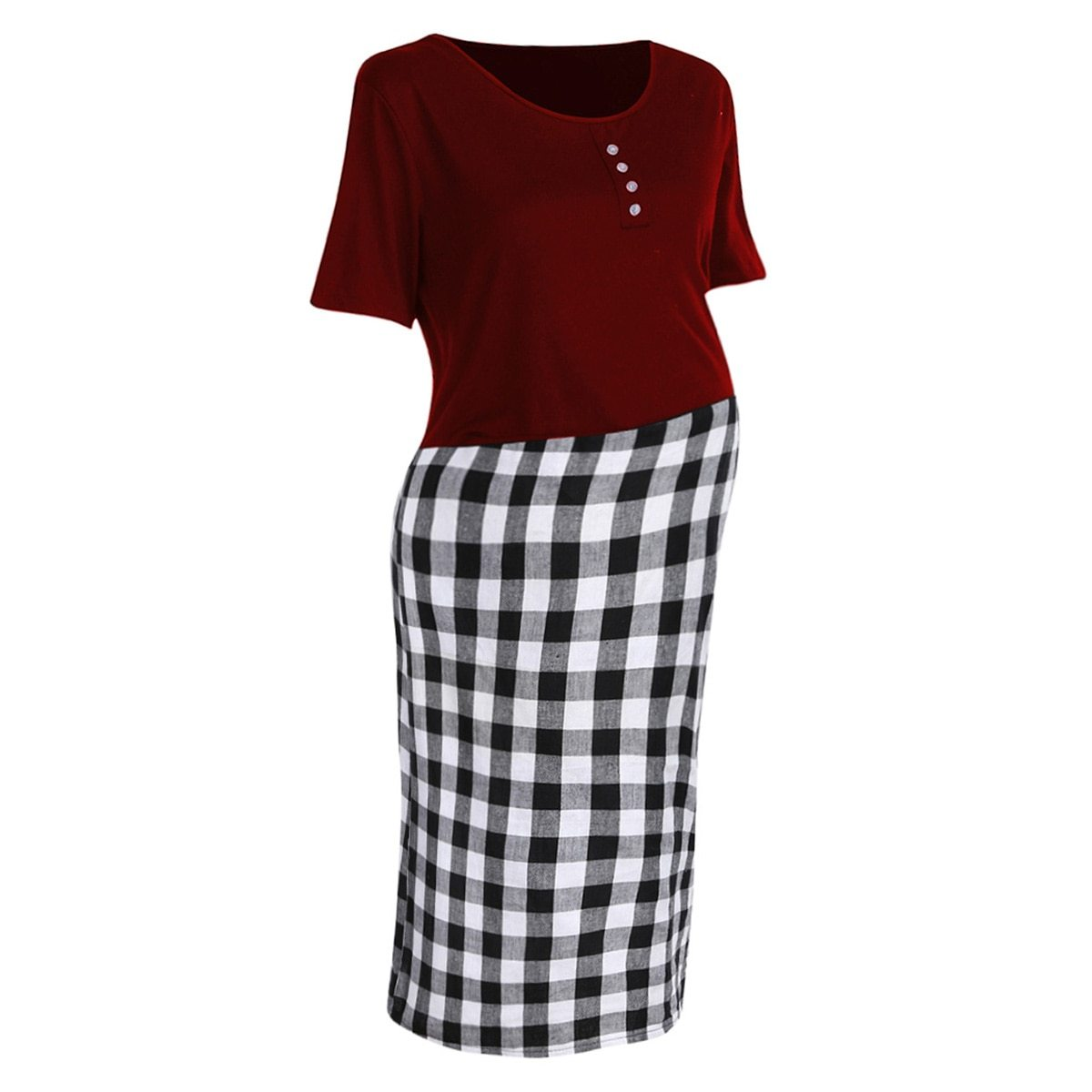 Maternity Dress Checkered Patchwork O Neck Short Sleeve Dress image 2