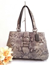 Coach Soho Python Embossed Exotic Leather Silver Gray Shoulder Bag - #19... - $98.99