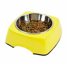 Pet Bowl Dogs/Cats Bowl with Stainless Steel Eating Surface Yellow, Large
