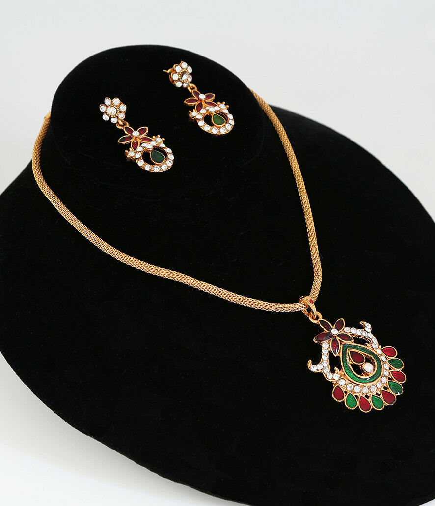 MULTICOLOR STYLISH ANTIQUE GOLD PLATED BRIDAL NECKLACE PENDANT