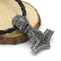 Thor's Hammer Mjolnir Pendant Necklace Oland Replica Norse Nordic Zinc A... - $9.99