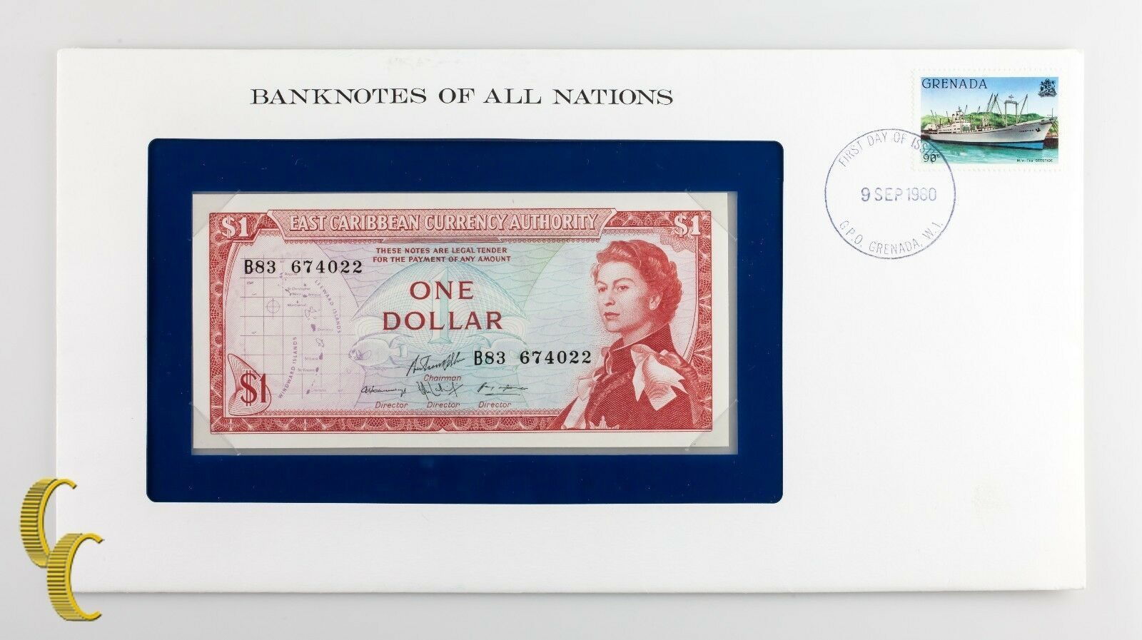 1980 East Caribe una Dollar en Billetes Of All Nations Estampado Sobres