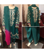 Pakistani Bottle Green Pink Gold Frock Style Fancy Embroidered 3-Pc Visc... - $118.80