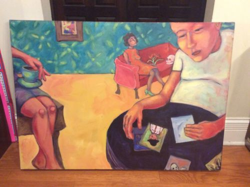 Primary image for Original Oil Painting Child With Sitting Women and Skull Large Sized