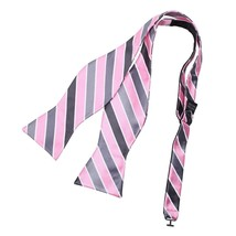 DBA7A24D Pink Grey Stripes Bow Tie Microfiber Christmas Gift Self-tied B... - $12.11