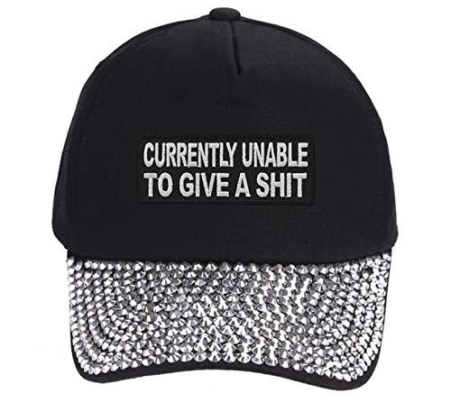 Currently Unable To Give A Shit Hat - Funny Adjustable Women's Cap (Black Studde