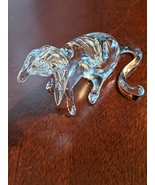 Vintage Blown Art Glass Clear Hound Dog Animal, 1970s - $13.00